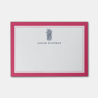 Pineapple Prep   Pink & Navy Personalized Post-it Notes