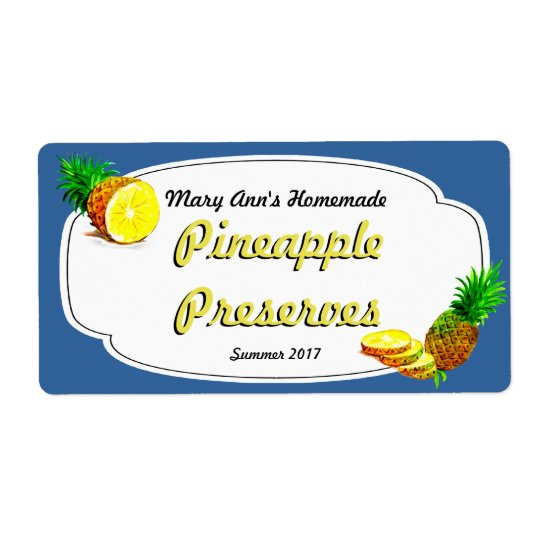 Pineapple Preserves Canning Labels