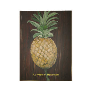 Pineapple printed on wood wood poster