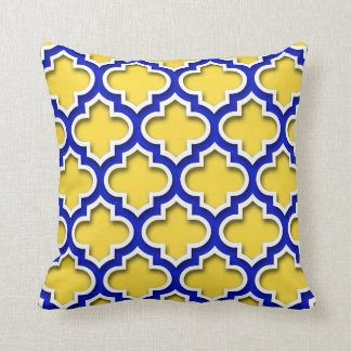 Pineapple Royal Blue Wht Moroccan Quatrefoil #5DS Cushion