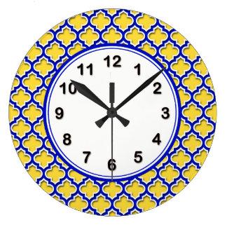 Pineapple Royal Blue Wht Moroccan Quatrefoil #5DS Large Clock