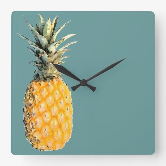 pineapple square wall clock