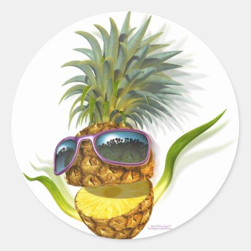 pineapple round sticker
