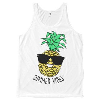 Pineapple 'Summer Vibes' Slogan Vest Top All-Over Print Tank Top