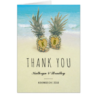 Pineapple Tropical Beach Destination Thank You Card