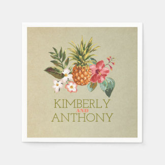 pineapple tropical beach destination wedding disposable serviettes