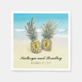 Pineapple Tropical Beach Destination Wedding Paper Napkin