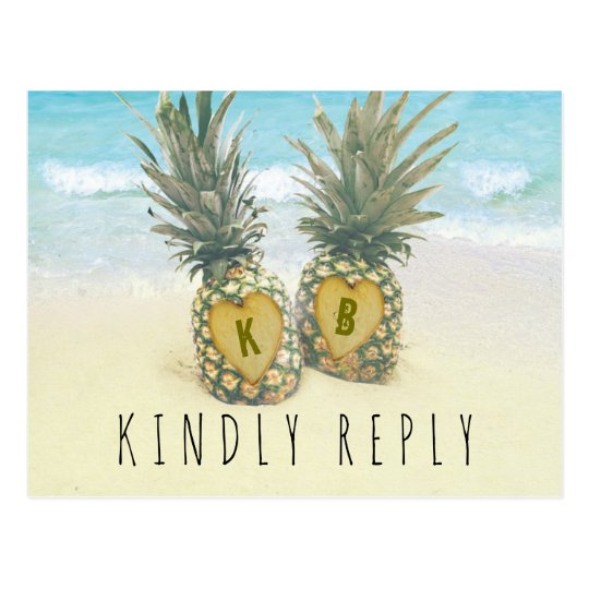 Pineapple Tropical Beach Destination Wedding RSVP Postcard
