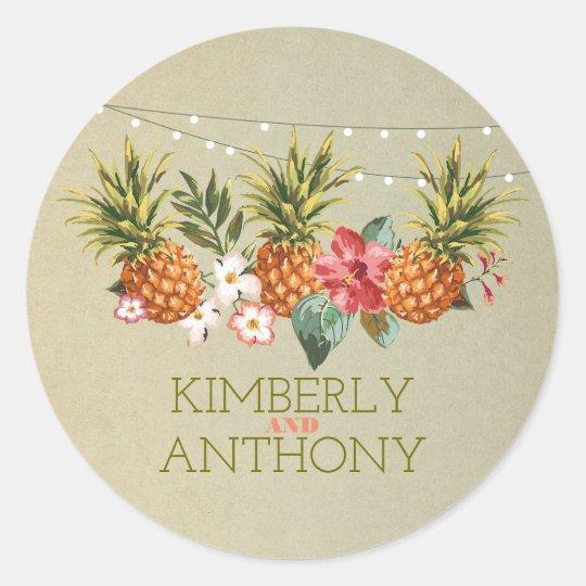 pineapple tropical beach wedding classic round sticker