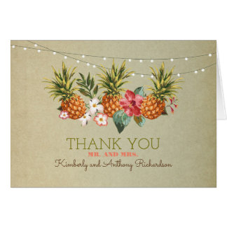 pineapple tropical beach wedding thank you note card