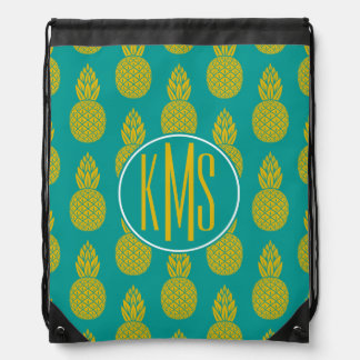 Pineapple Tropical Fruit | Monogram Drawstring Bag