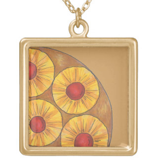 Pineapple Upside Down Cake Cherry Foodie Necklace