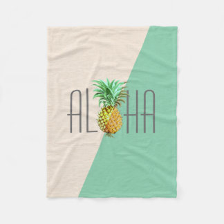 PineApple  Vintage Illustration Aloha Text Fleece Blanket