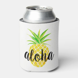 Pineapple Watercolor Aloha Tropical Monogram Can Cooler