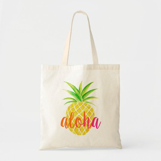 Pineapple Watercolor Aloha Tropical Pink Bag