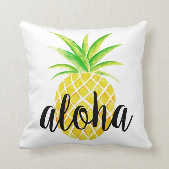 Pineapple Watercolor Aloha Tropical Summer Throw Pillow