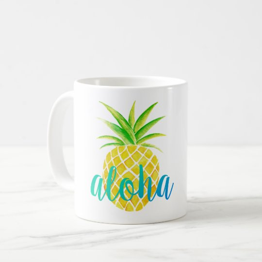 Pineapple Watercolor Aloha Tropical Turquoise Coffee Mug