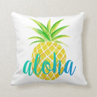 Pineapple Watercolor Aloha Tropical Turquoise Cushion