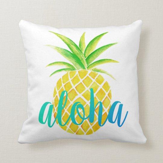 Pineapple Watercolor Aloha Tropical Turquoise Throw Pillow
