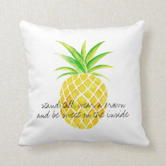 Pineapple Watercolor Stand Tall Wear a Crown Cushion