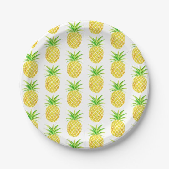 Pineapple Watercolor Tropical 7 Inch Paper Plate