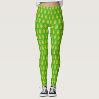Pineapple Watercolor Tropical Green Leggings