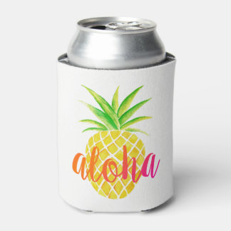Pineapple Watercolor Tropical Monogram Can Cooler