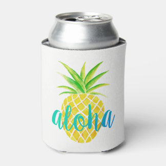 Pineapple Watercolor Tropical Monogram Turquoise Can Cooler
