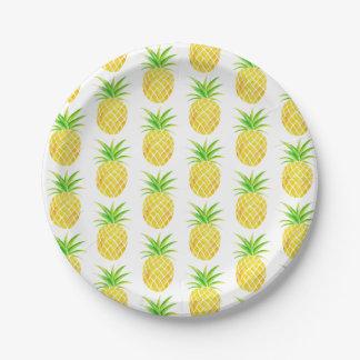 Pineapple Watercolor Tropical Paper Plate
