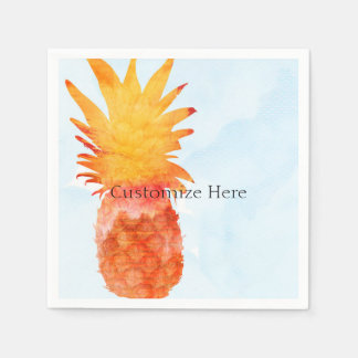 Pineapple Watercolor Tropical Summer Party Paper Napkins