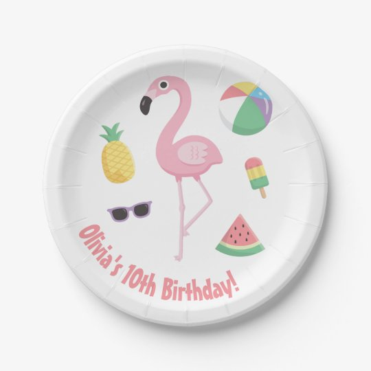 Pineapple Watermelon Pink Flamingo Party Supplies 7 Inch