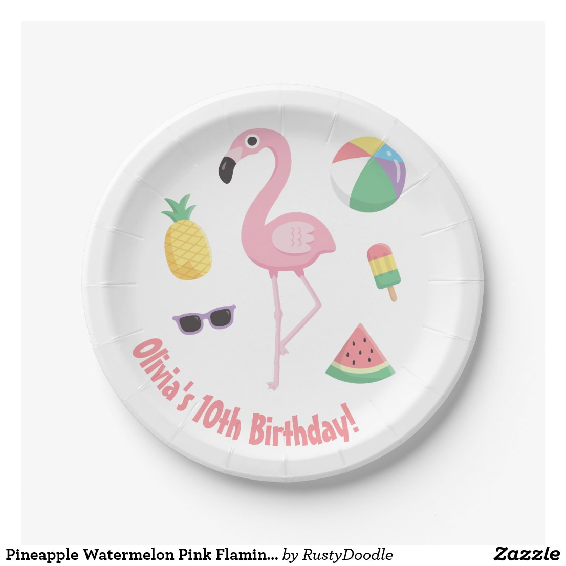 Pineapple Watermelon Pink Flamingo Party Supplies Paper Plate