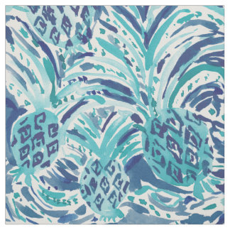 PINEAPPLE WAVE Blue Painterly Watercolor Fabric