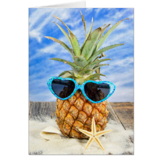 pineapple wearing heart sunglasses card
