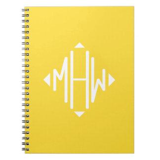 Pineapple White 3 Initials Diamond Shape Monogram Spiral Note Book