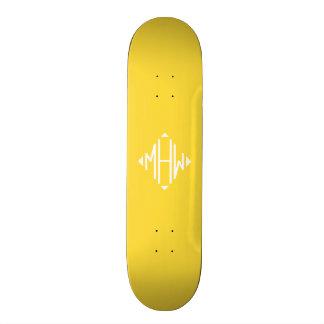 Pineapple White 3 Initials Diamond Shape Monogram Skate Boards