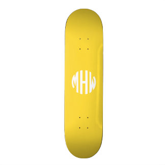 Pineapple White 3 Initials in a Circle Monogram Skate Boards