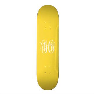 Pineapple White 3 Initials Vine Script Monogram Skateboard