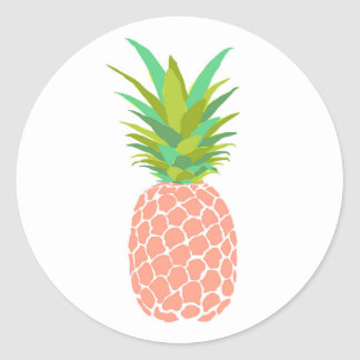 Pineapple +White Classic Round Sticker