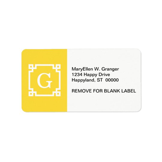 Pineapple Wht Greek Key Frame #2 Initial Monogram Address Label