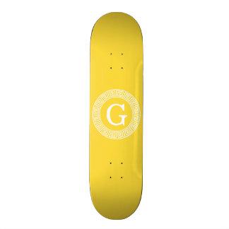 Pineapple Wht Greek Key Rnd Frame Initial Monogram Skateboard Decks