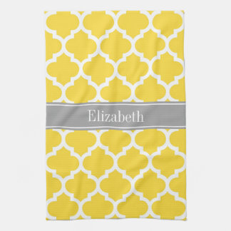 Pineapple Wht Moroccan #5 Dk Gray Name Monogram Hand Towel