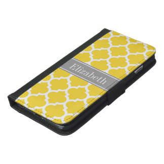 Pineapple Wht Moroccan #5 Dk Gray Name Monogram iPhone 6/6s Plus Wallet Case