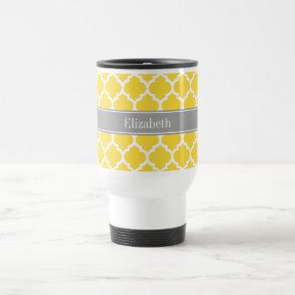 Pineapple Wht Moroccan #5 Dk Gray Name Monogram Travel Mug