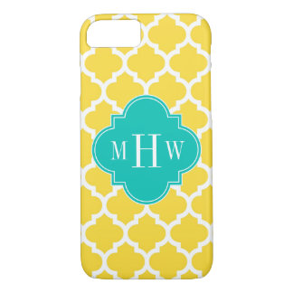 Pineapple Wht Moroccan #5 Teal 3 Initial Monogram iPhone 7 Case