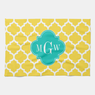 Pineapple Wht Moroccan #5 Teal 3 Initial Monogram Kitchen Towel