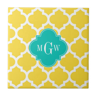 Pineapple Wht Moroccan 5 Teal 3 Initial Monogram Tile