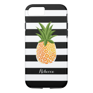 Pineapple with Black White Stripes Custom Name iPhone 7 Case