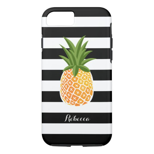 Pineapple with Black White Stripes Custom Name iPhone