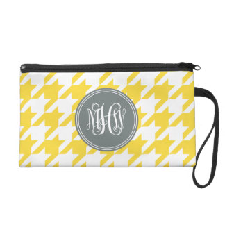 Pineapple Wt Houndstooth Charcoal 3I Vine Monogram Wristlet Clutches